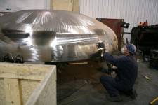 Polishing of the dome in the workshop