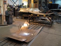 Cutting the bronze sheets