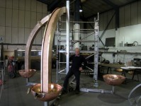 The fountain partly assembled in the workshop